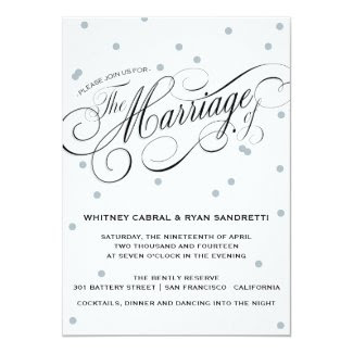 Elegant Dot Silver Wedding Invitation