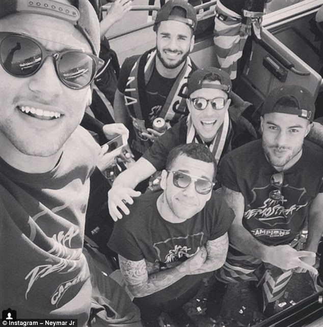 Neymar uploaded this snap of himself with his fellow Barcelona stars to his Instagram account
