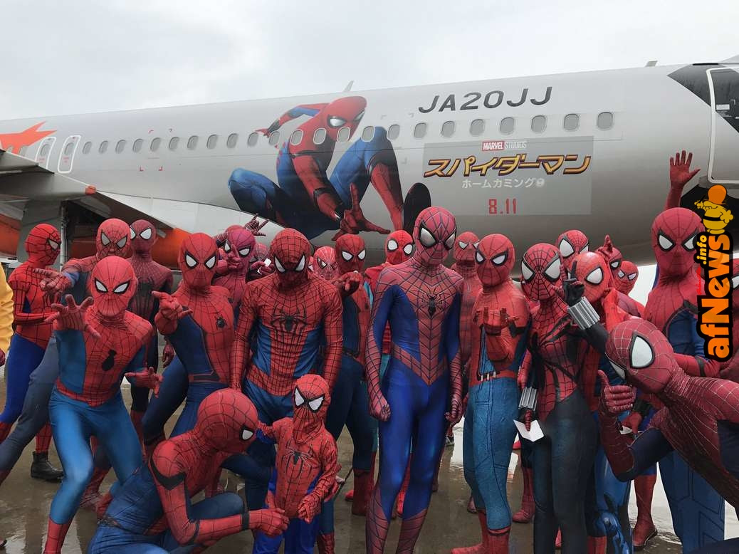 Spider-Man Cosplayers Fill Airplane