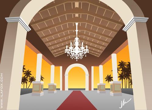 Hall de entrada, iberostar abahia, ilustração by ila fox