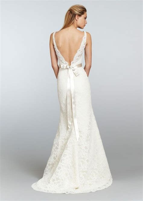 Low deep V back neckline lace wedding gown   Low and Open