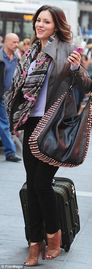 Girl on the run: Katharine was seen filming scenes in Manhattan last week