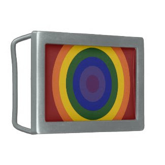 Rainbow Bullseye Belt Buckle