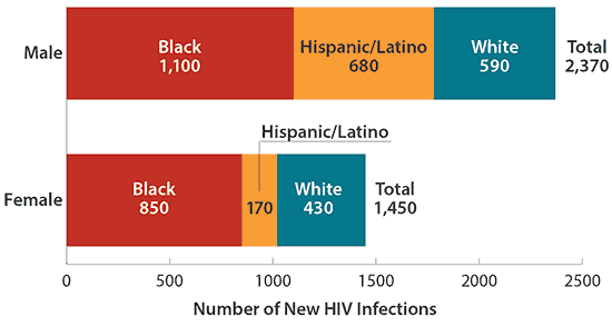 Estimated New Infections among People Who Inject Drugs by Gender and Race/Ethnicity, 2010—United States is a chart detailing the number of new HIV infections among people who inject drugs in 2010 divided into three racial groups (White, Black,  and Hispanic/Latino) and by gender. Among males, there were 1,100 Blacks, 680 Hispanic/Latinos, and 590 Whites, for a total of 2,370. Among females, there were 850 Blacks, 170 Hispanic/Latinos, and 430 Whites, for a total of 1,450.