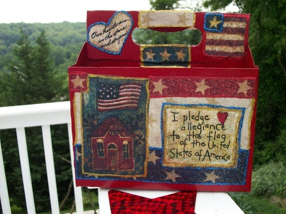 All American Decoupaged Holiday Party Caddy Upcycled Repurposed  - Treasury Item