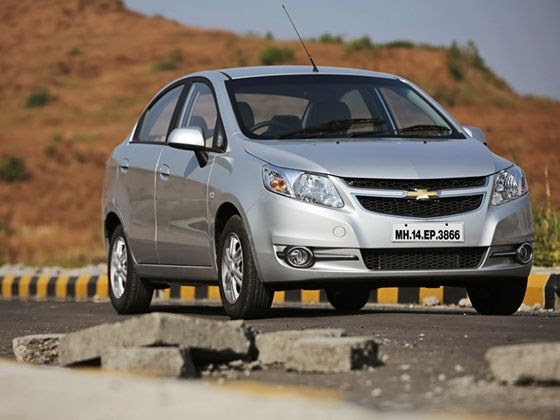 Chevrolet Sail facelift review front three forth