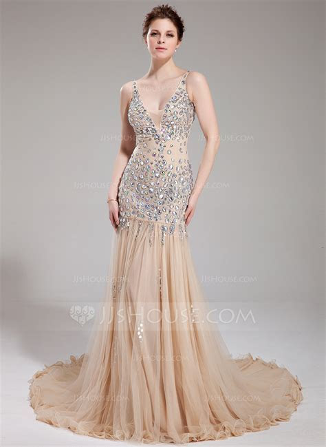 Trumpet/Mermaid V neck Chapel Train Tulle Prom Dress With