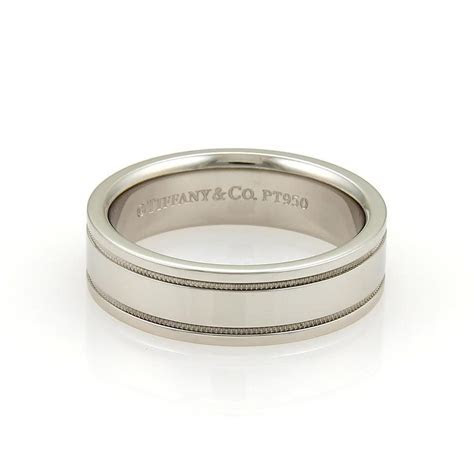 Platinum Double Milgrain 6mm Wide Flat Wedding Band Ring