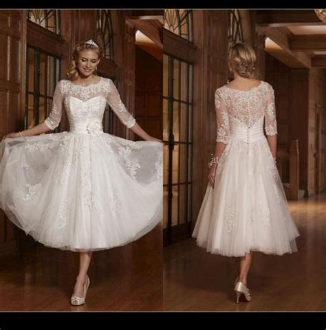 Long Sleeve A line White 2015 Short Wedding Dresses Scoop