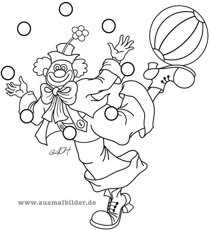 ausmalbilder clown karneval  kinder ausmalbilder