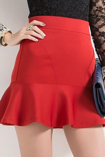 OL Style High Waist Skirt with Frilly Hem