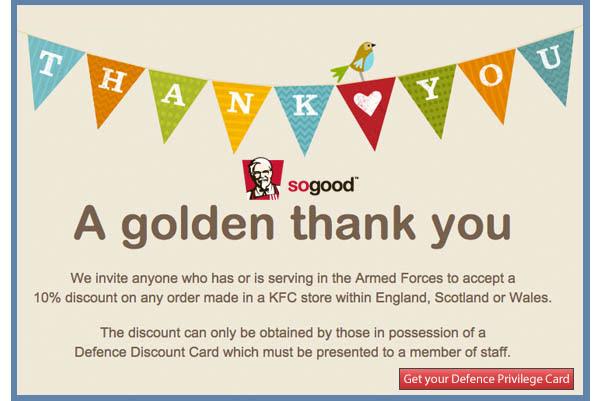 KFC 10% discount