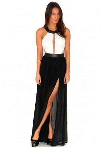 Black and white maxi evening dress