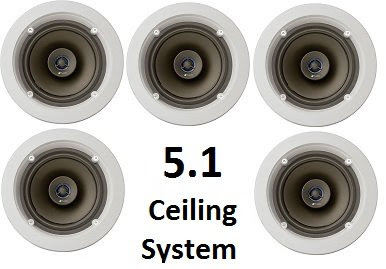 Niles 5.1 Ceiling Mount Surround Sound System - (Set of Five) CM610 2-Way Coaxial 6-inch Speakers, White-Paintable