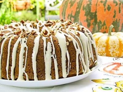 Pumpkin Pecan Bundt Cake with a cream cheese glaze