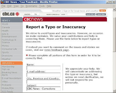 CBC News: Report a Typo or Inaccuracy