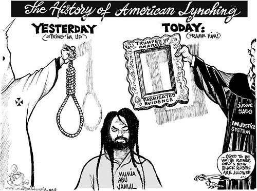 A cartoon portraying the history of lynchings in the United States where in the past it was done by the Ku Klux Klan in white robes and in modern times through a racist judicial system with judges in black robes. Mumia Abu-Jamal is an excellent example. by Pan-African News Wire File Photos
