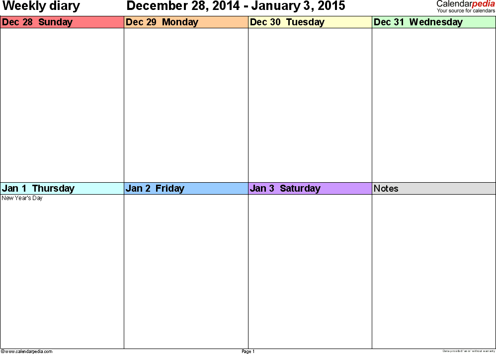 Weekly calendar 2015 for Word - 12 free printable templates