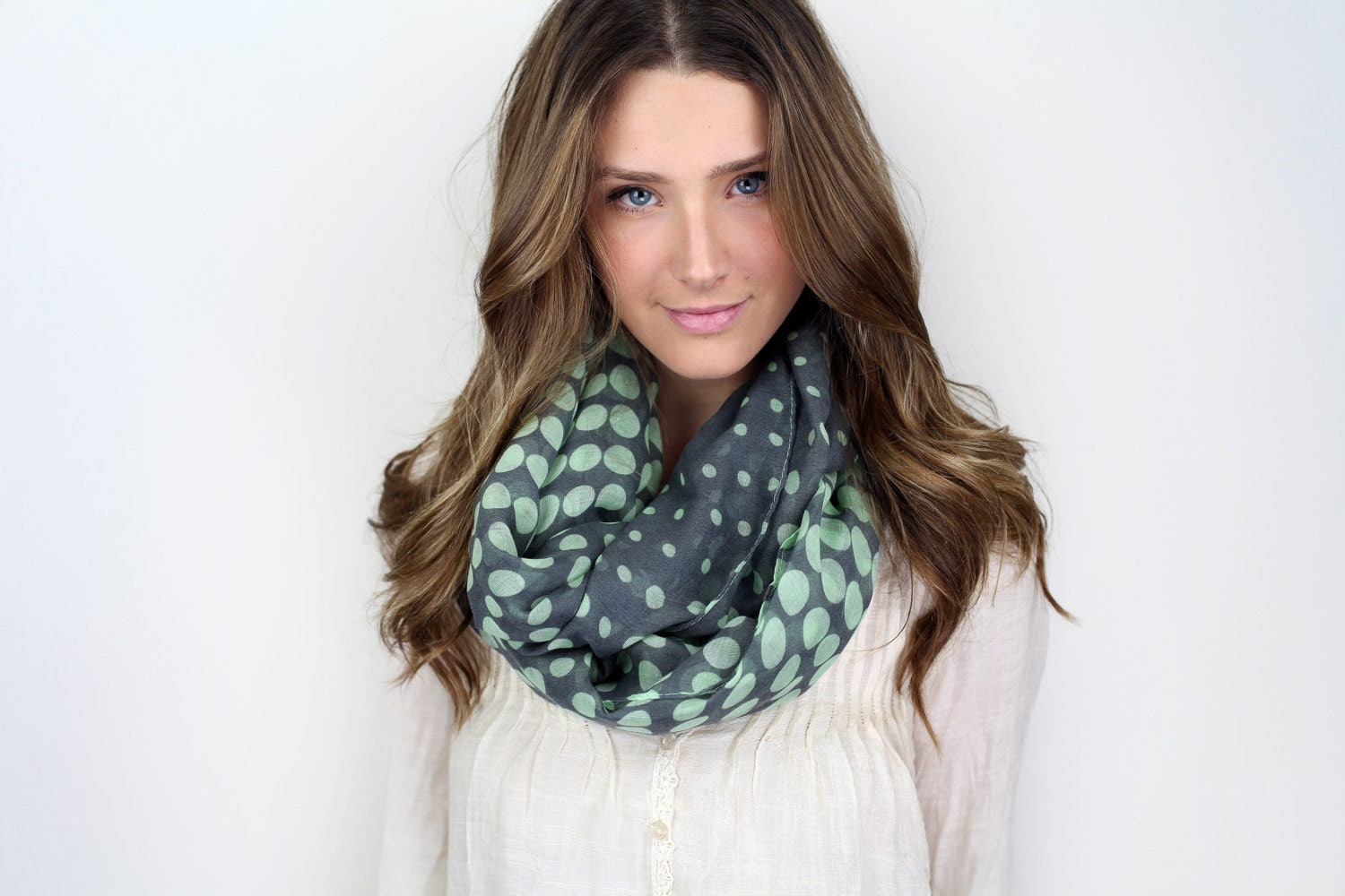 chunky polka dot infinity scarf, MORE COLORS mint dark gray, black or coral, black tan