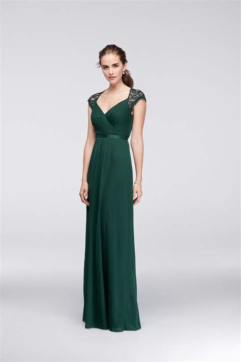 Juniper Green Long Mesh Bridesmaid Dress with Lace Cap