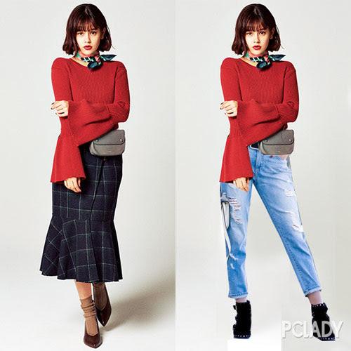 Một chiếc áo len tay chuông đi cùng chân váy peplum thì còn gì điệu hơn