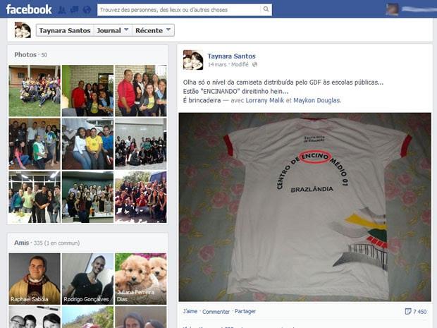Página de irmã do estudante Maykon Santos, com a foto do uniforme escolar que traz a palavra ensino escrita com C (Foto: Facebook/Reprodução)