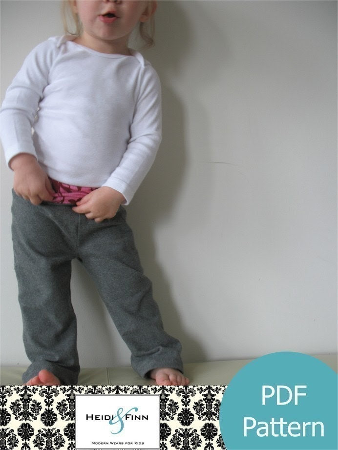 Comfy Yoga Pants pattern and tutorial PDF boy girl EASY SEW 12m-5T