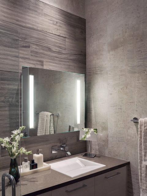 Modern Gray + White Master Bathroom - contemporary - bathroom ...