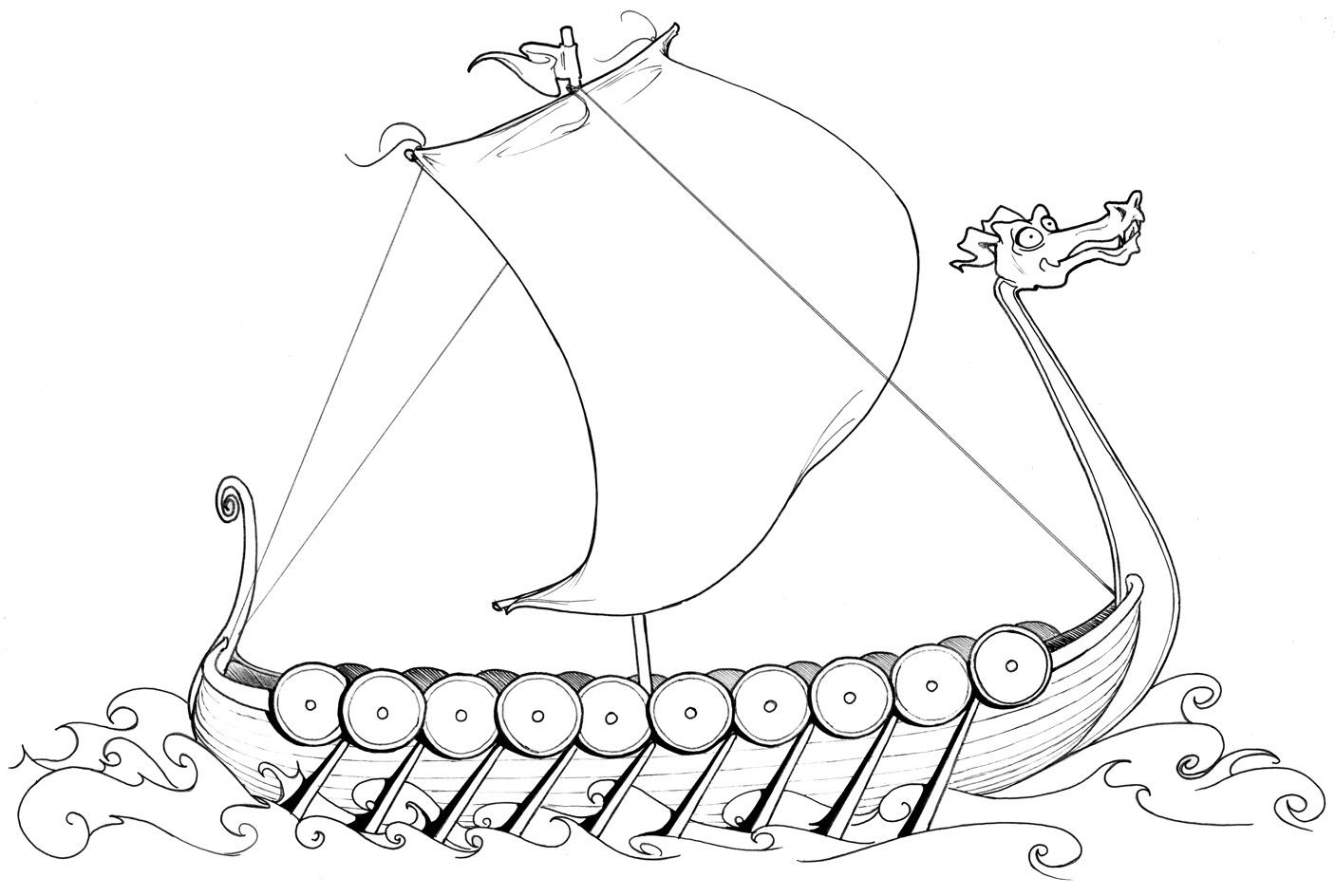 Hier können Sie Ausmalbilder – Wikingerschiff kostenlos ausdrucken Malvorlagen für Kinder