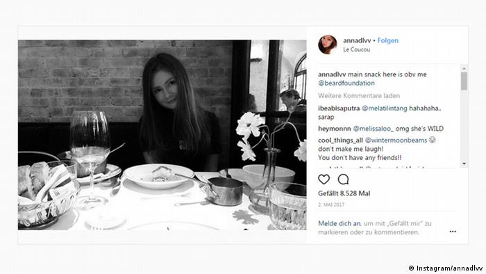 Screenshot Instagram - Kunstbetrügerin Anna Delvey (Instagram/annadlvv)