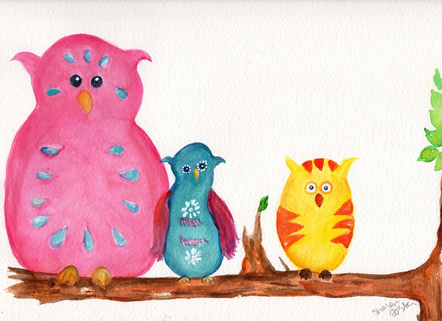 Sharon Foster, Artist on Etsy shows her colorful owls