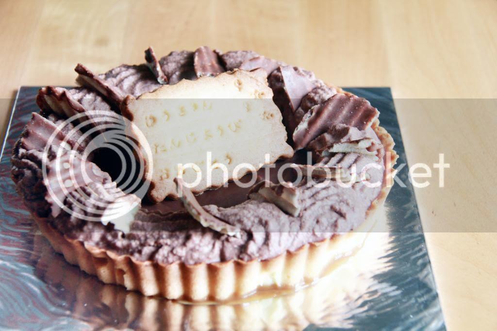 dessert - triple chocolate rum raisin tart