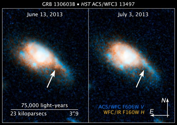 Remnants of a gamma-ray burst (called GRB 130603B) are visible in these Hubble Space Telescope pictures. Credit: NASA, ESA, and Z. Levay (STScI/AURA)