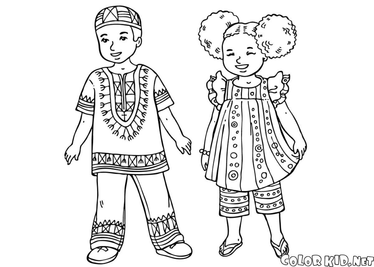 Boyama Sayfası Afrikalı çocuklar