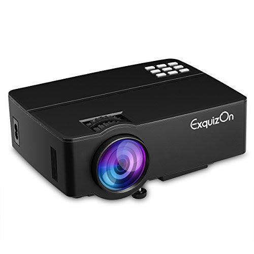 ExquizonE08 LEDプロジェクター1500ルーメン 1080P 800*480解像度 AmazonFireTVStick/パソコンスマホ/タブレット/ゲーム機など接続 HDMI/VGA/USB/AV/SDカードサポート