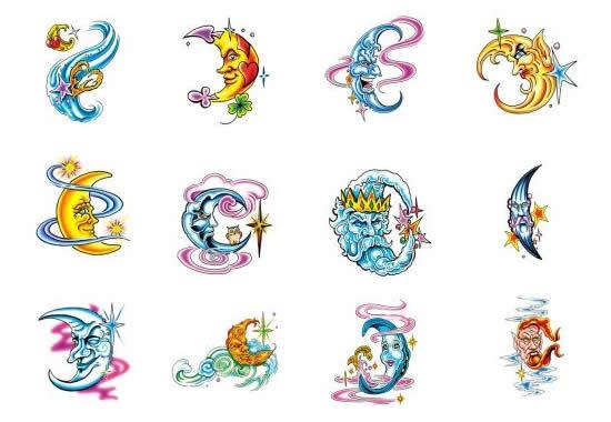 crescent moon star tattoo designs