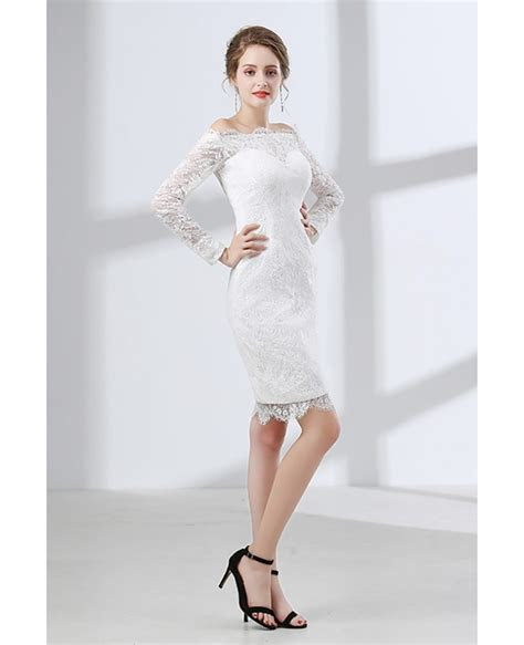 Fitted Lace Off Shoulder Short Wedding Dress Long Sleeves