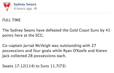 Swans Win v Gold Coast Suns