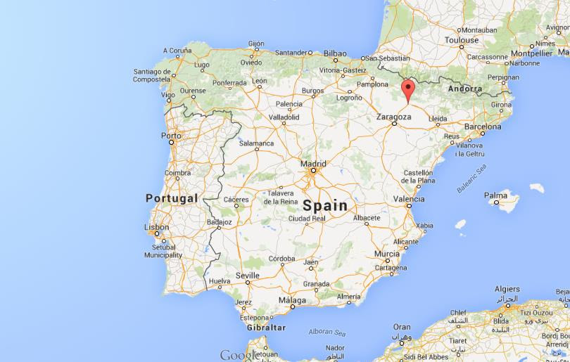 Where is Huesca on map of Spain