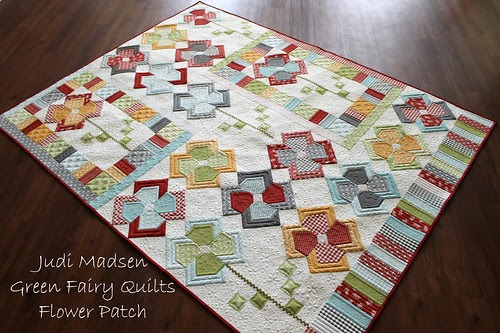 Green Fairy Quilts Flower Patch Qal Quilt Finished