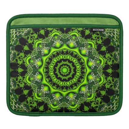 Spider Dance, Abstract Green Gray Web Sleeves For iPads