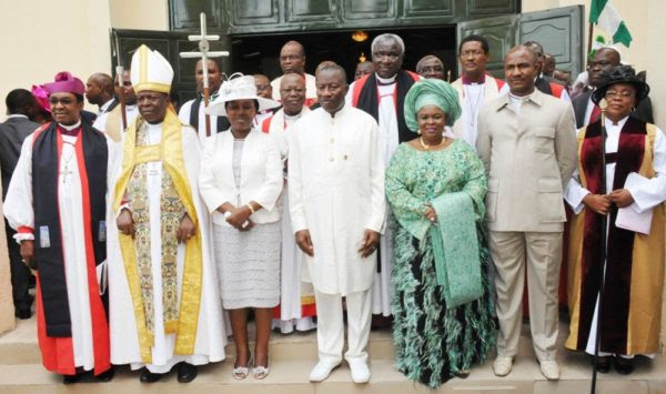PIC. 5. FROM LEFT: BISHOP OF ENUGU ANGLICAN DIOCESE, RT. REVD. EMMANUEL CHUKWUMA; PRIMATE, CHURCH OF NIGERIA, ANGLICAN COMMUNION, MOST REV. NICHOLAS OKOH; HIS WIFE, NKASIOBI; PRESIDENT GOODLUCK JONATHAN; THE FIRST LADY, DAME PATIENCE JONATHAN; EXECUTIVE SECRETARY, NIGERIAN CHRISTIAN PILGRIMS COMMISSION, MR JOHNKENNEDY OPARA AND OTHERS, AFTER A THANKSGIVING AND FAREWELL SERVICE IN HONOUR OF PRESIDENT GOODLUCK JONATHAN AND HIS WIFE, AT THE CATHEDRAL  CHURCH OF THE ADVENT, LIFE CAMP, GWARIMPA IN ABUJA ON SUNDAY (10/5/15). 2487/10/5/2015/ICE/BJO/NAN