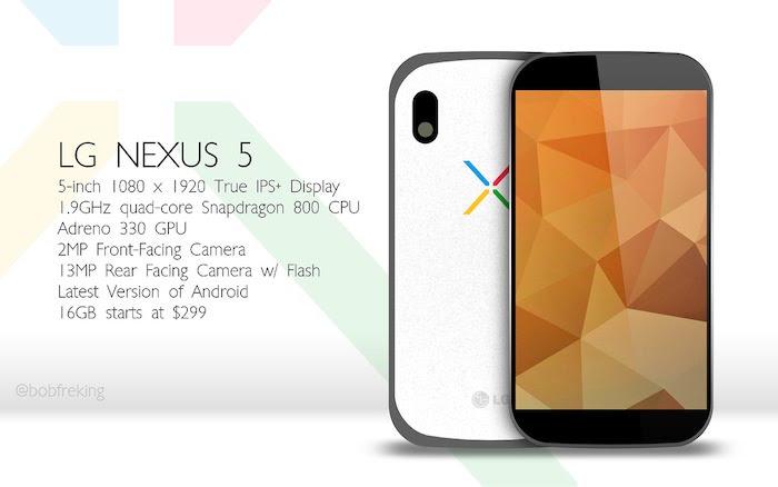 Un concept de design et spécifications pour le Nexus 5