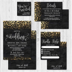 Black and Gold Glitter Dots Wedding Invite Templates