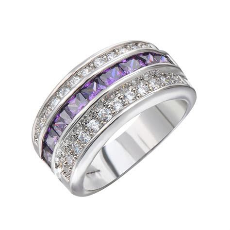 Purple Amethyst Crystal Wedding Band / New Ring Size 6 12