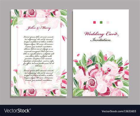 Wedding card template floral design Royalty Free Vector