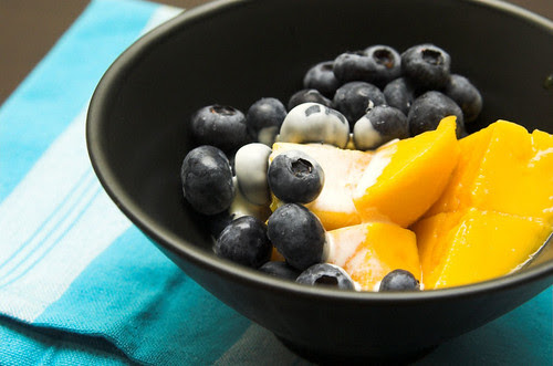 Mango and blueberries