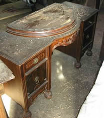 Old Ornate Vanity with half circle lid - before