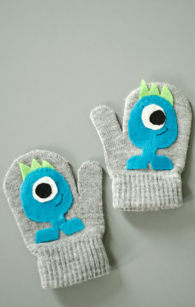 DIY Monster Kiddo Gloves!  www.happinessiscreating.com