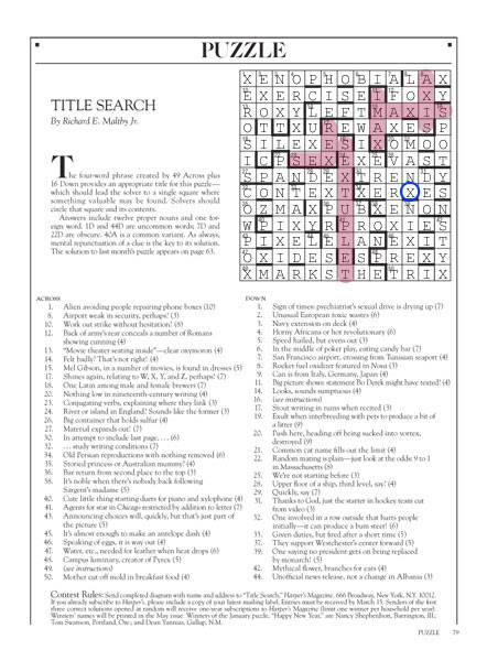 March 2013   Tacky Harpers Cryptic Clues